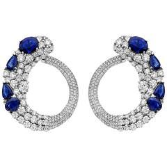 Ceylon Sapphire Diamond Gold Earrings