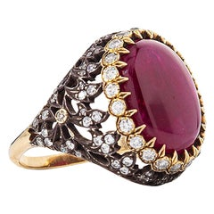 Antique Inspired Handcrafted Ruby Cocktail Ring