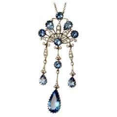 Estate Tiffany & Co. Peacock Diamond & Aquamarine Platinum Necklace