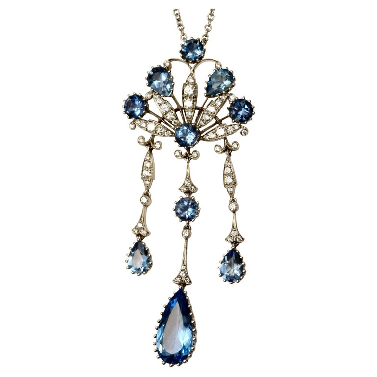 Estate Tiffany & Co. Peacock Diamond & Aquamarine Platinum Necklace For Sale