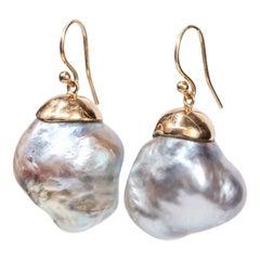 18 Karat Gold Oversized Baroque South Sea Pearls Drop Earring