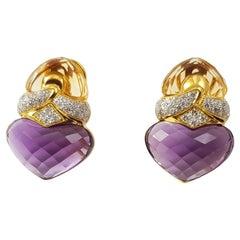 Citrine, Amethyst with Diamond Earrings Set in 18 Karat Gold Settings