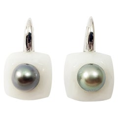 White Agate and South Sea Pearl Earrings Set in 18 Karat White Gold Settings
