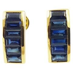 Baguette Blue Sapphire Earrings Set in 18 Karat Gold Settings