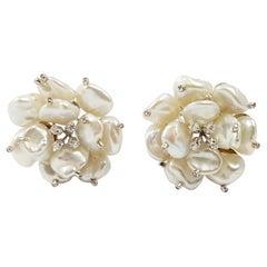 Pearl with Diamond Flower Earrings Set in 18 Karat White Gold Settings