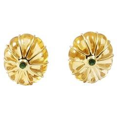 Citrine with Tsavorite Earrings Set in 18 Karat Gold Set
