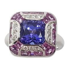 Tanzanite with Pink Sapphire and Diamond Ring Set in 18 Karat White Gold Setting