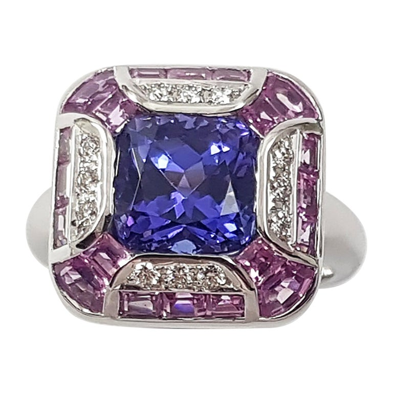 Tanzanite with Pink Sapphire and Diamond Ring Set in 18 Karat White Gold Setting For Sale