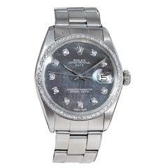 Rolex Stainless Steel Date Custom Mother of Pearl Diamond Dial Diamond Bezel