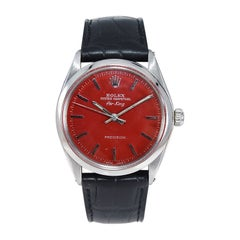 Rolex Stainless Steel Air King Custom Finished Red Dial Late 1960's