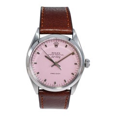 Rolex Stainless Steel Air King with a Custom Finished Hot Pink Dial Early 1970's