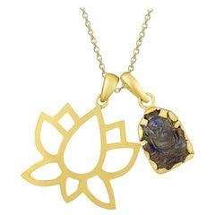 18 Karat Gold Open Lotus Pedant and Hand-Carved Labradorite Ganesh