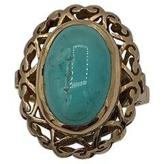 Antique Turquoise Ring Retro Cocktail 18 Karat Yellow Gold