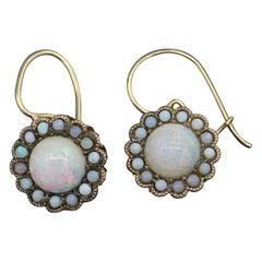 Art Deco Opal Pendant Drop Earrings 14 Karat Gold Antique