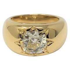 2.90 Carat Old European Cut Diamond Ring in 18 Karat Gold