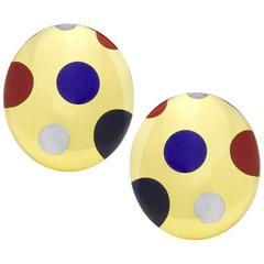 Tiffany & Co. Polka Dot Hardstone Gold Ear Clips