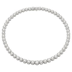Anniversary Collection 18 Karat White Gold Garavelli Diamond Tennis Necklace