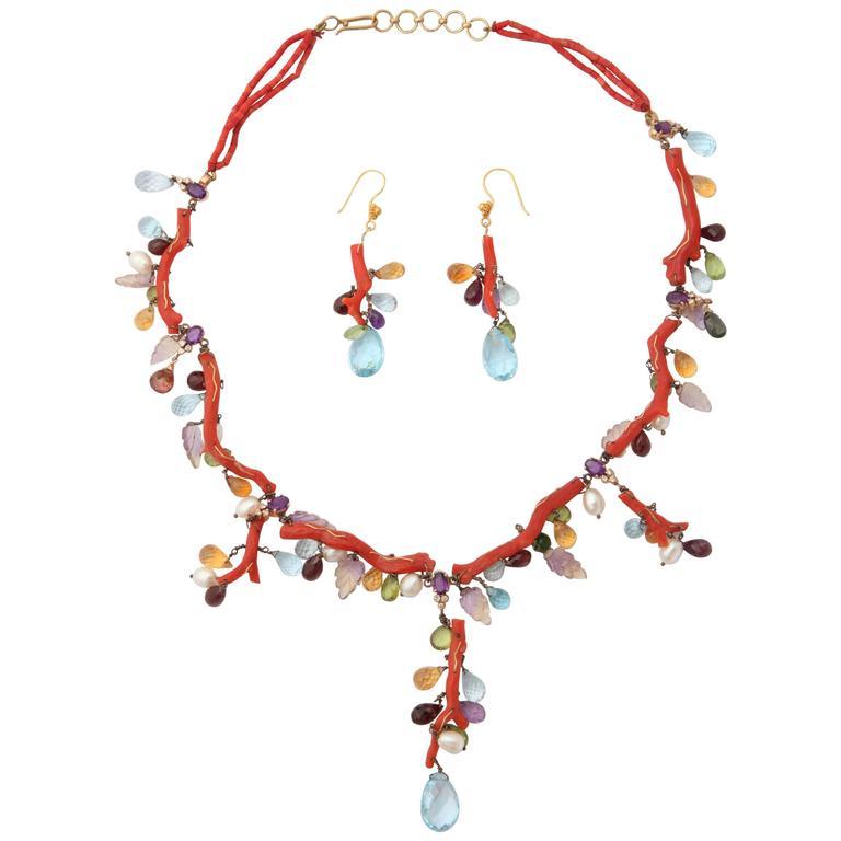 Coral Semi Precious Stone Necklace Set 1