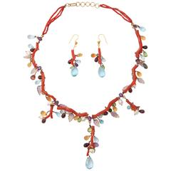 Coral Semi Precious Stone Necklace Set