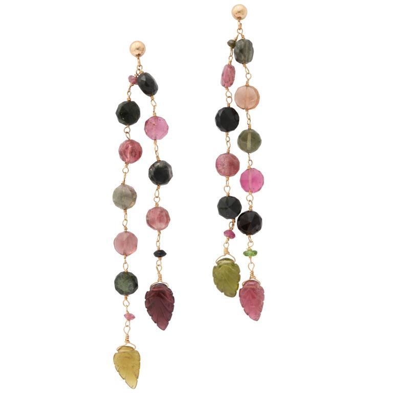 Long Tourmaline Bead Gold Earrings