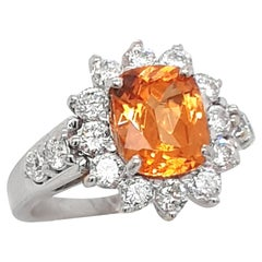 Faceted Orange Mandarine Garnet Ring with 18 Carat White Gold and Diamonds