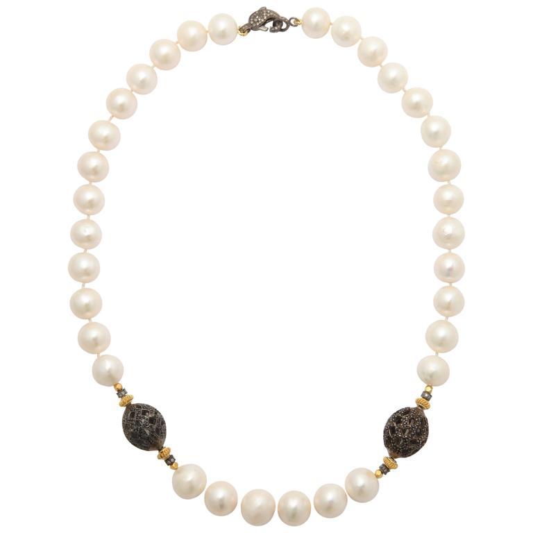 Unique Pearl Black Spinel Diamond Necklace