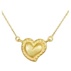 18 Karat Gold Handmade Sacred Heart Short Necklace