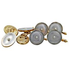 Art Deco Mother-Of-Pearl & White/Yellow Gold Dress Set By Larter & Sons