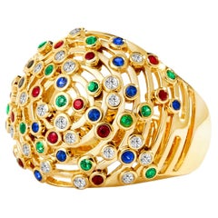 Syna Yellow Gold Cosmic Dome Ring with Champagne Diamonds