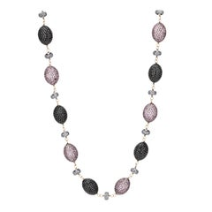 Victorian Beaded Station Necklace in Pink Sapphire with Diamond