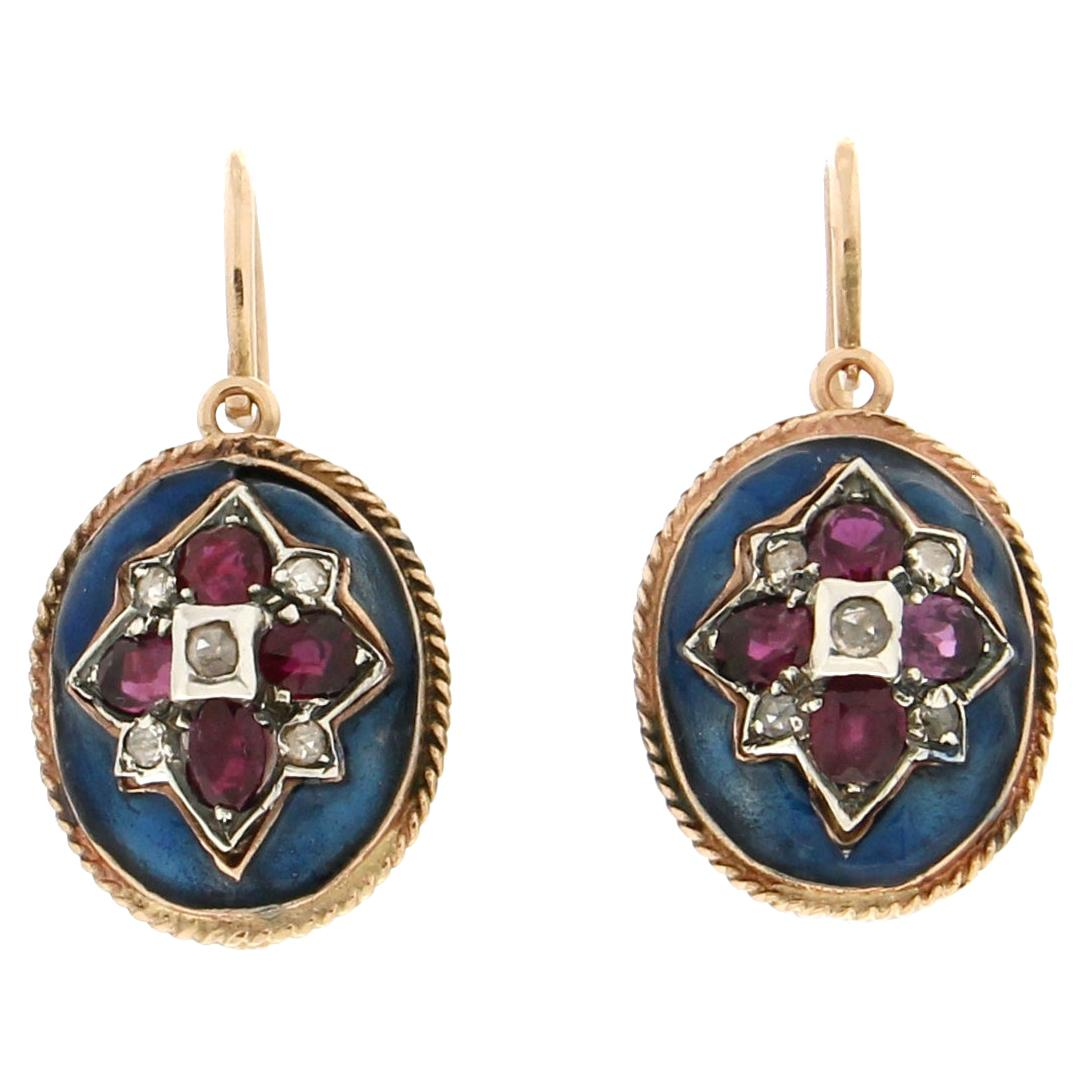 Handcraft Rubies 14 Karat Yellow Gold Diamonds Dangle Earrings