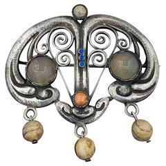 Arts & Crafts Moonstone Coral Enamel Brooch Agate Drops Signed J.K.D. Jugendstil