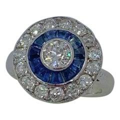 Art Deco Old Mine Diamond Sapphire Platinum Ring Wedding Engagement Target Ring