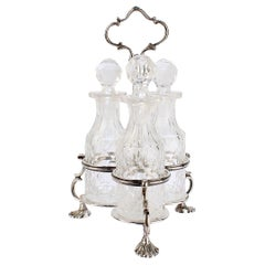 Antique English Victorian Sterling Silver & Glass Cruet Set by Richards & Brown
