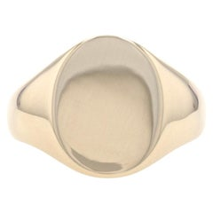 Yellow Gold Signet Men's Ring, 10k Engravable Oval