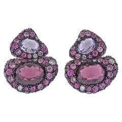 Bucherer Gold Diamond Rhodolite Amethyst Sapphire Earrings