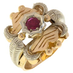 Vintage Ruby 18 Karat Rose & White Gold Engraved Ring Handcrafted in Italy