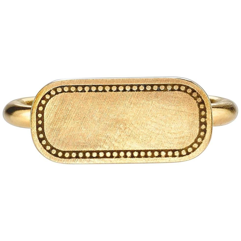 Handcrafted Engravable Gold Signet Ring