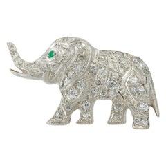 Diamond-Set Elephant Brooch