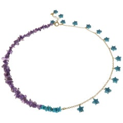 Amethyst Blue Natural Turquoise 9 Karat Rose Gold Necklace Handcrafted in Italy