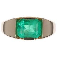 3.52-Carat 14K Emerald Cut Colombian Emerald Tension Set Men's Ring