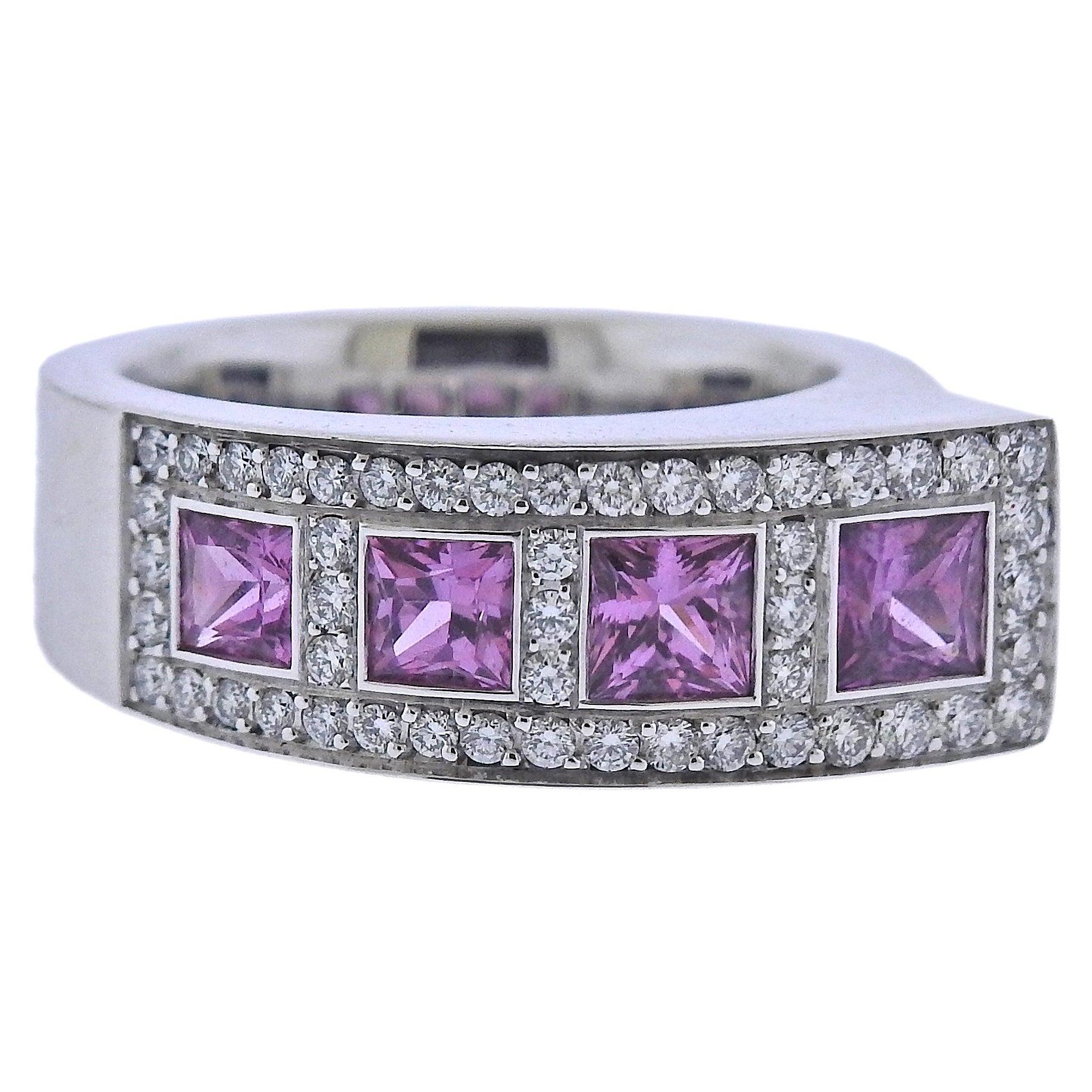 Bucherer Gold Pink Sapphire Diamond Ring