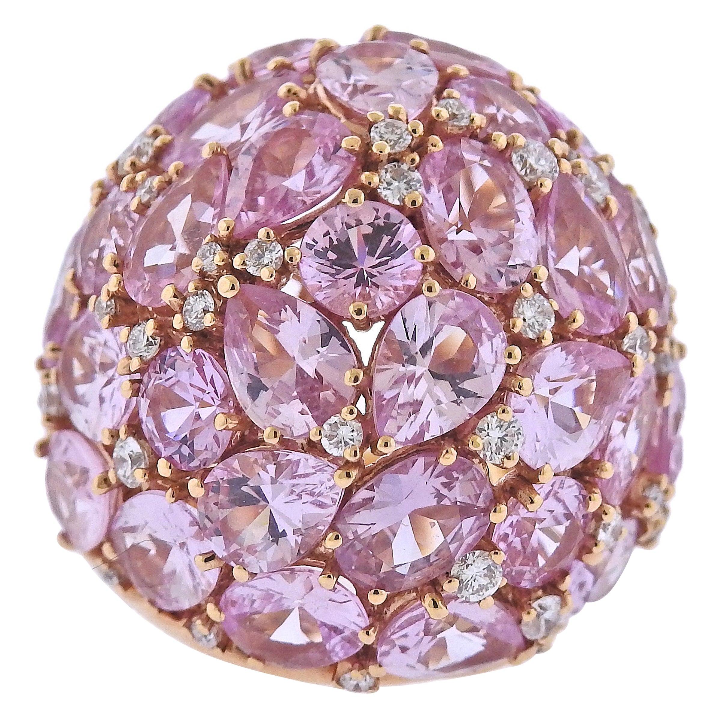 Bucherer Gold Pink Sapphire Diamond Dome Cocktail Ring