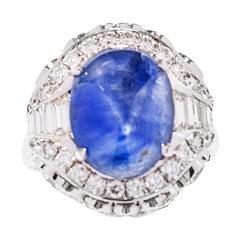 10.09 Ct's Unheat Ceylon Star Sapphire Cocktail Ring with Diamonds
