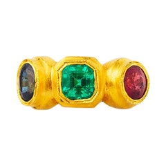 24K Gold Roman Style Emerald Ruby and Sapphire Three-Stone Ring SYZ007