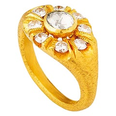 24K Gold Hand Crafted Ottoman Inspired Rose Form Diamond Ring
