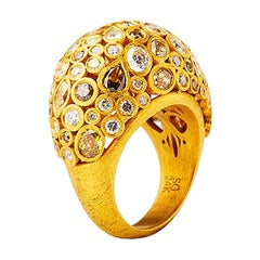 24K Gold Hand Crafted Fancy Color Diamond Cocktail Ring