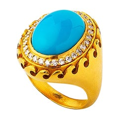 22K Gold Hand Crafted Oval Arizona Turquoise Wavey Pattern Ring