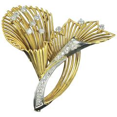 French Antique Diamond Gold Brooch