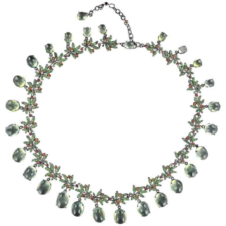 Orange Sapphire Prehnite Green garnet Darkened Silver Necklace